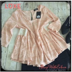 LUXE Boutique Peach Lace Baby Doll Peplum Top